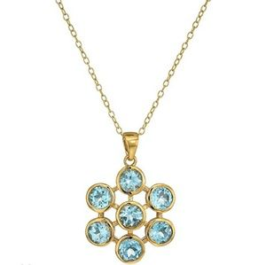 Jewelry - New Blue Topaz flower necklace 18k Over sterling